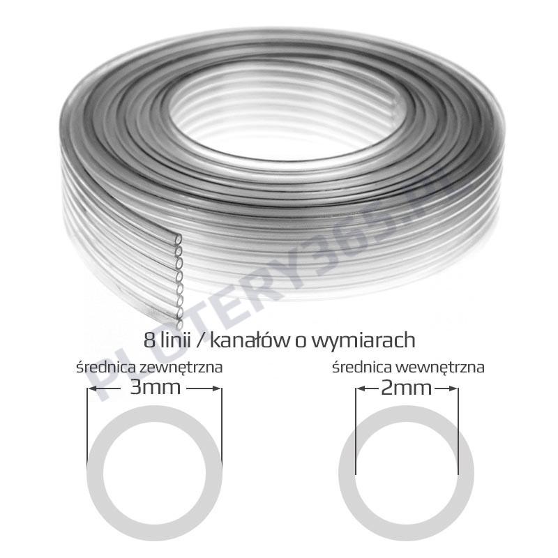 Przewód atramentowy do tuszu solwentowego 3mm x 2mm 8 linii/kanałów